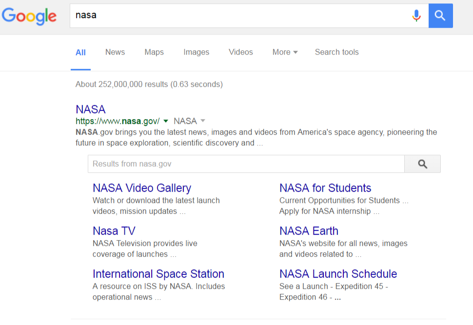 Google Search Nasa