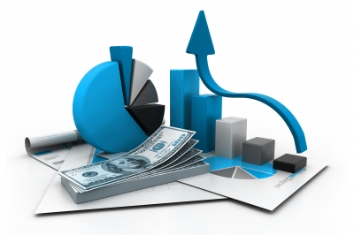 Financial Report & Graph Stock Photo